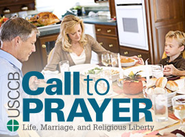 Call to Prayer ad feature family praying