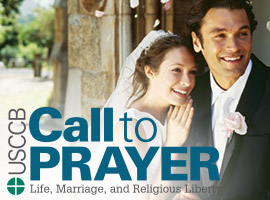 Call to Prayer ad featuring bride and groom.
