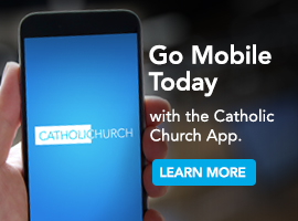 Catholic Church app ad.