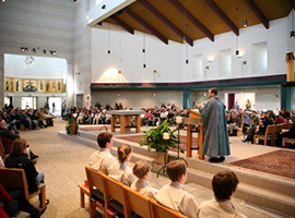 Msgr. Richard Hilgartner delivers a homily at Holy Family Church in Middletown MD. USCCB Photo/Maria Pope