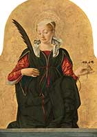 A depiction of St. Lucy by Francesco del Cossa. National Gallery of Art, Samuel H. Kress Collection.