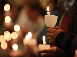 Worshippers hold candles during an Easter Vigil at St. Jude Church in Mastic Beach, N.Y. CNS photo/Gregory A. Shemitz