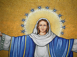 Mosaic tiles depicting Mary are seen in the Trinity Dome at the Basilica of the National Shrine of the Immaculate Conception in Washington. (CNS photo/Tyler Orsburn)