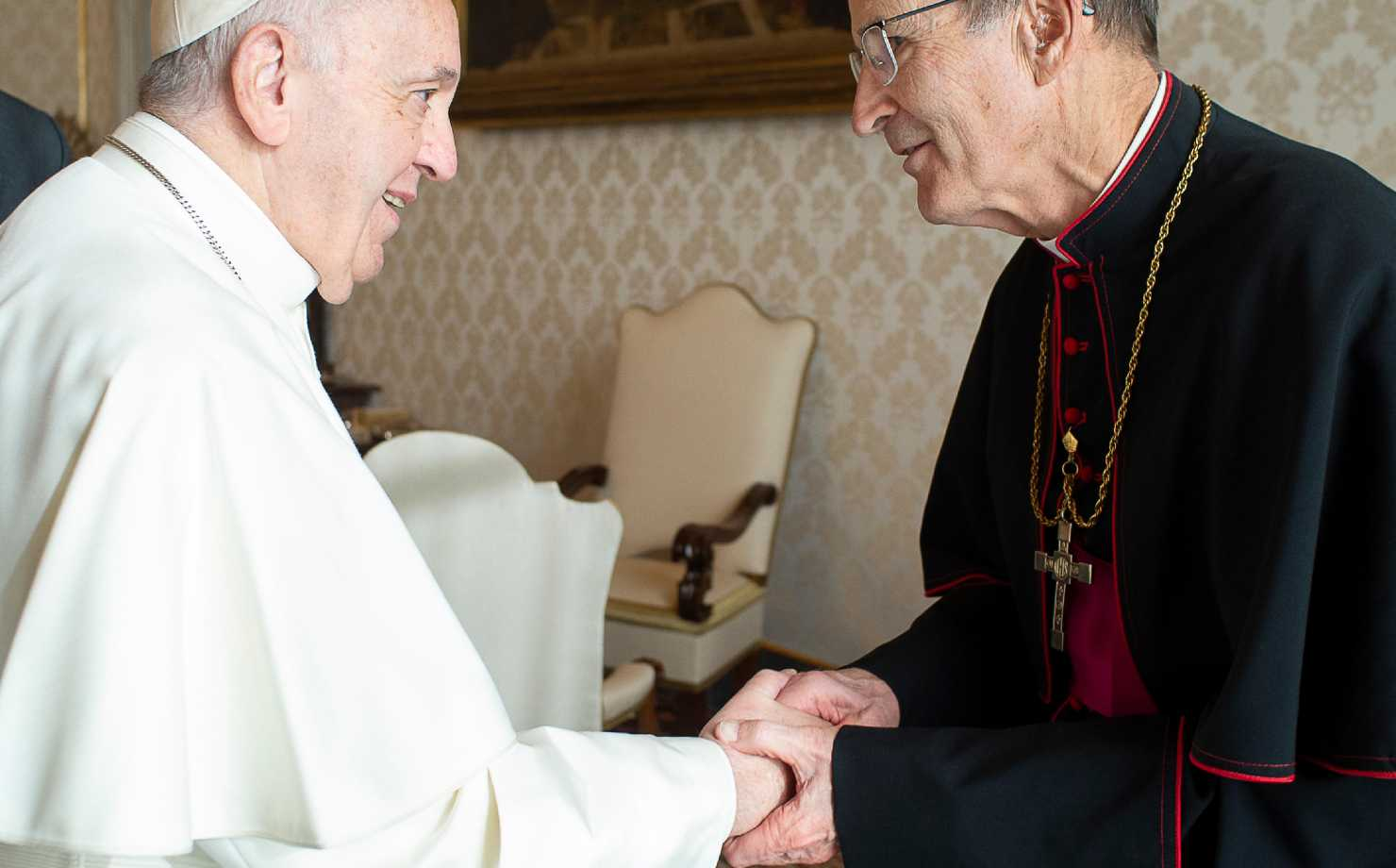 Bishop John LeVoir greets Pope Francis
