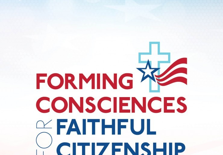 Faded American flag background with Forming Consciences for Faithful Citizenship cross logo and text overlay
