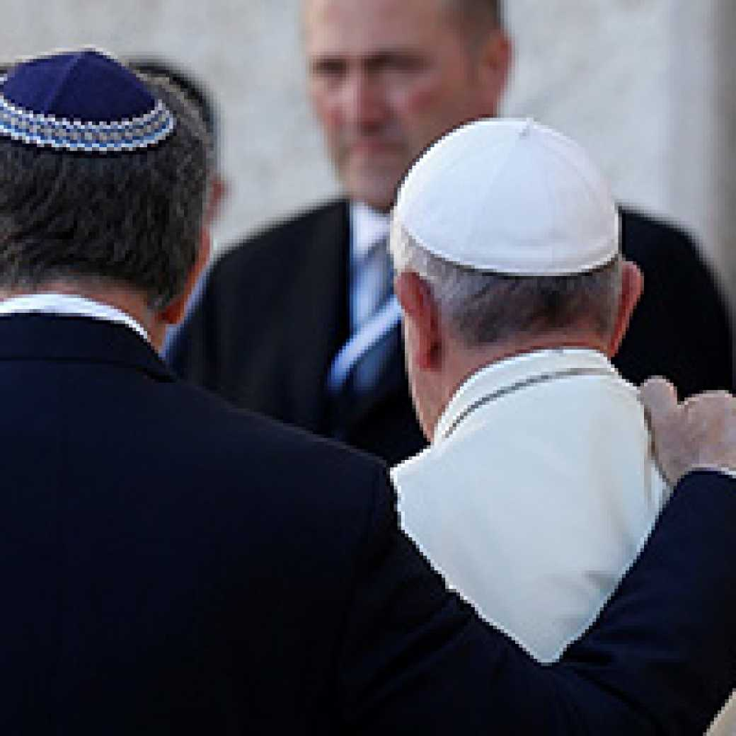 Rabbi Abraham Skorka of Buenos Aires and Pope Francis embrace after visiting the Western Wall in Jerusalem (CNS photo/Paul Haring)